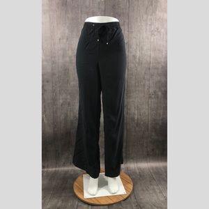 Calvin Klein Size 10 Crepe Black Drawstring Pants